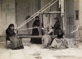 "Women Weaving, Cyprus, circa 1920 ""The photo, taken by German archaeologist Max Ohnefalsch-Richter in the 1910s, highlights the key role that weaving once played in the island culture."" National Geographic"